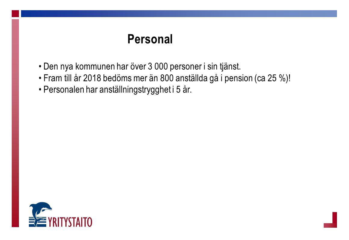 Personal Den nya kommunen har över 3 000 personer i sin tjänst. Fram till år 2018 bedöms mer än 800 anställda gå i pension (ca 25 %)! Personalen har a