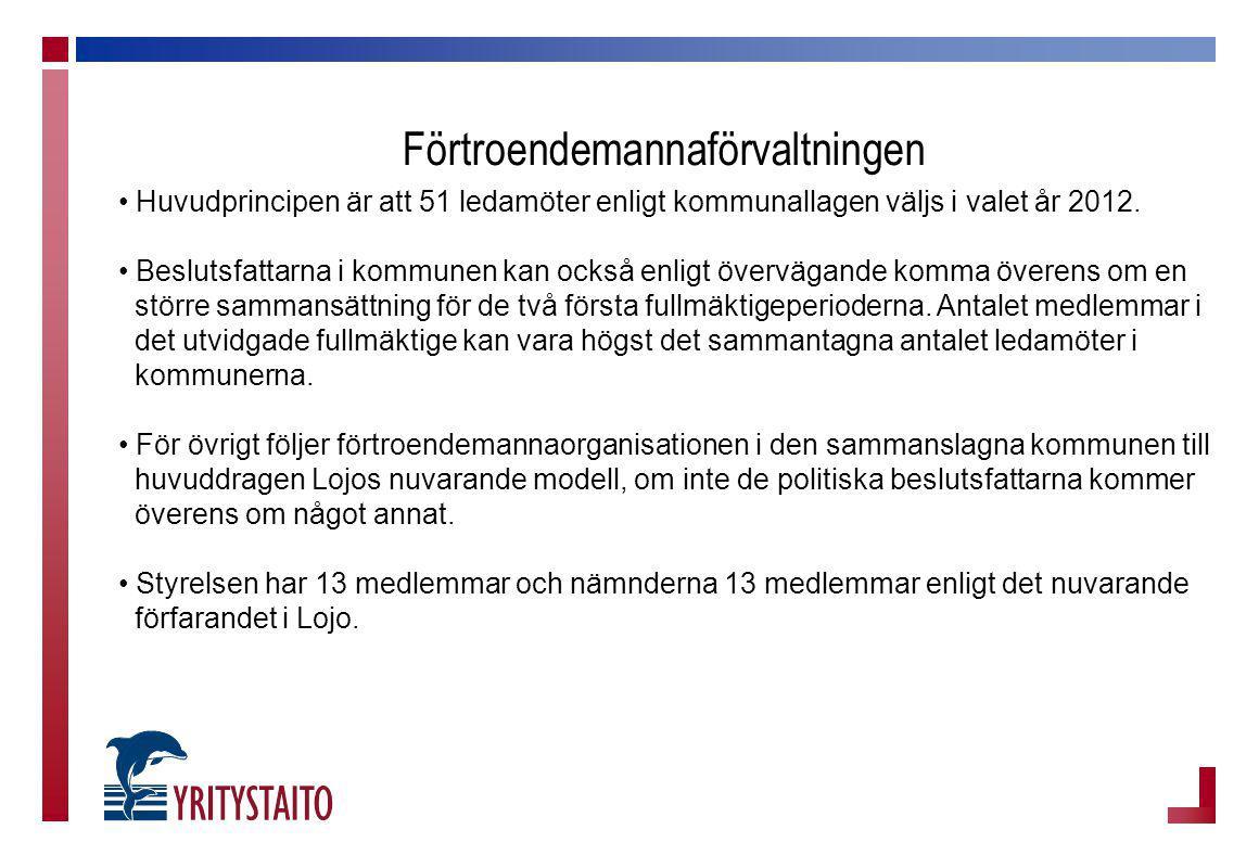 Förtroendemannaförvaltningen Huvudprincipen är att 51 ledamöter enligt kommunallagen väljs i valet år 2012. Beslutsfattarna i kommunen kan också enlig
