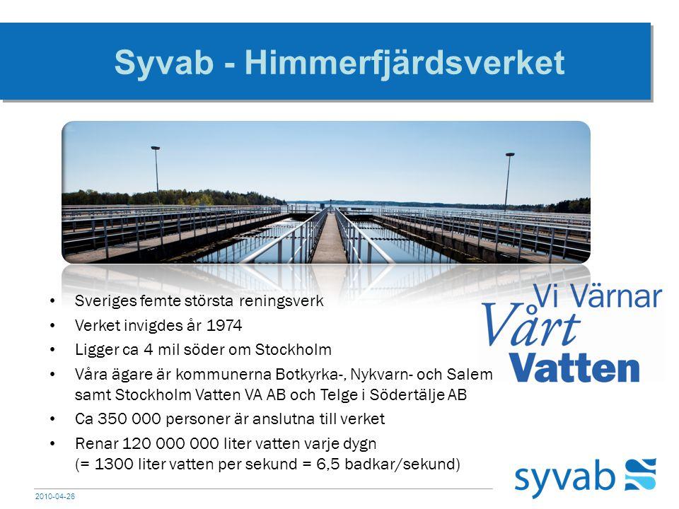 2010-04-26 Tunnelsystemet Vattnet rinner till verket i ett ca 5,5 mil långt tunnelsystem Det rinner igenom 6 kommuner (Stockholm, Huddinge, Botkyrka, Salem, Södertälje och Nykvarn) Vattnet rinner med självfall Tunneln lutar 1 meter/km (1 ‰) 8 timmar innan vattnet når Himmerfjärdsverket