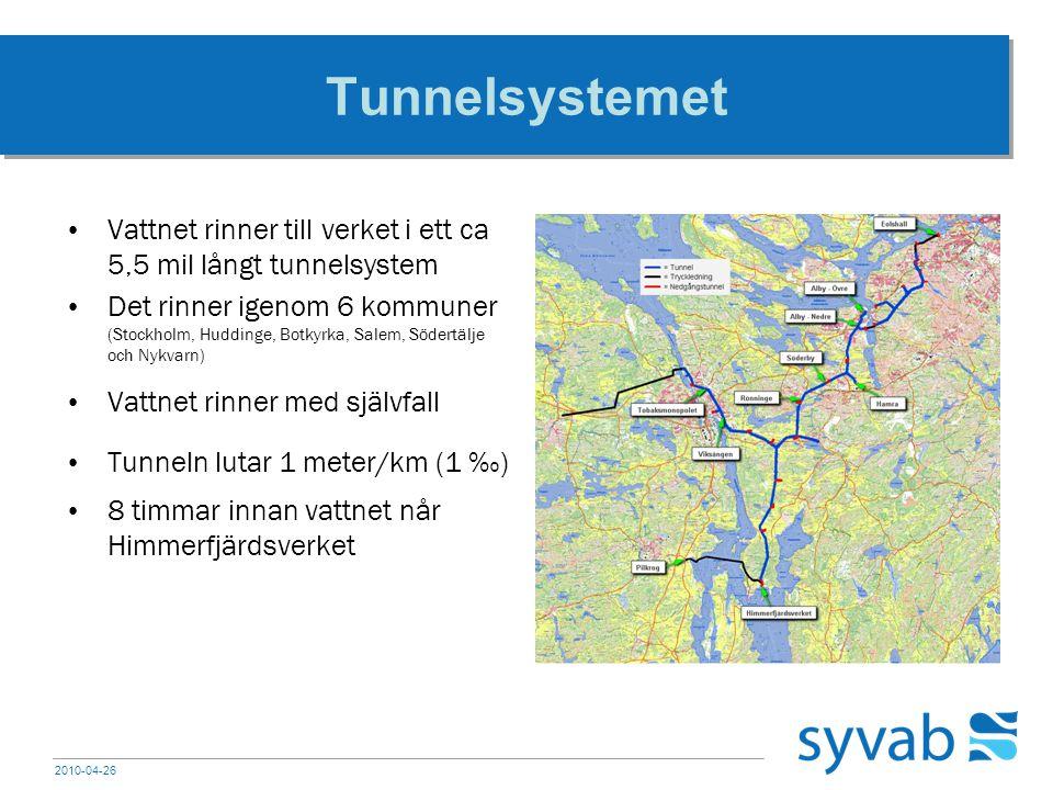 2010-04-26 Tunnelsystemet Vattnet rinner till verket i ett ca 5,5 mil långt tunnelsystem Det rinner igenom 6 kommuner (Stockholm, Huddinge, Botkyrka,