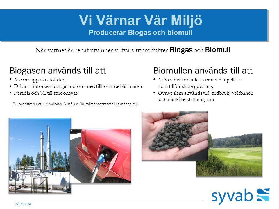 2010-04-26 Vi Värnar Vår Miljö Producerar Biogas och biomull När vattnet är renat utvinner vi två slutprodukter Biogas och Biomull Biogasen används ti