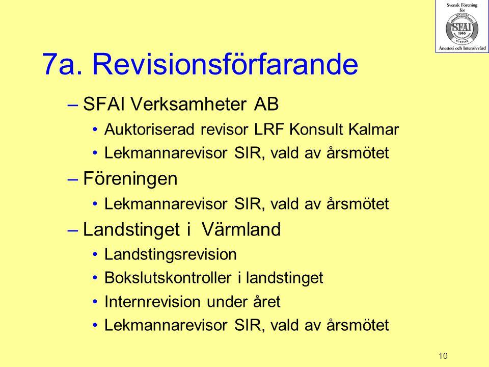 7a. Revisionsförfarande –SFAI Verksamheter AB Auktoriserad revisor LRF Konsult Kalmar Lekmannarevisor SIR, vald av årsmötet –Föreningen Lekmannareviso