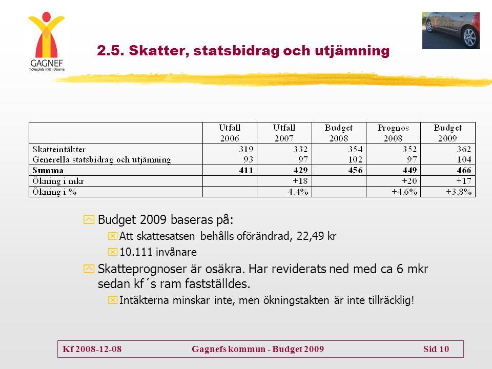 Kf 2008-12-08 Gagnefs kommun - Budget 2009 Sid 10 2.5. Skatter, statsbidrag och utjämning yBudget 2009 baseras på: xAtt skattesatsen behålls oförändra
