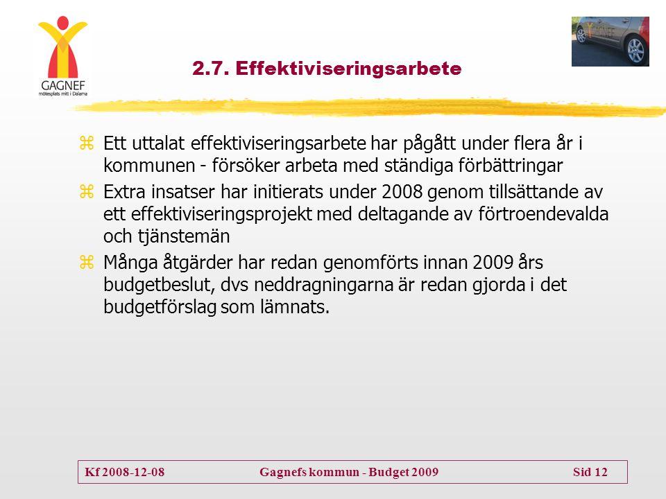Kf 2008-12-08 Gagnefs kommun - Budget 2009 Sid 12 2.7. Effektiviseringsarbete zEtt uttalat effektiviseringsarbete har pågått under flera år i kommunen