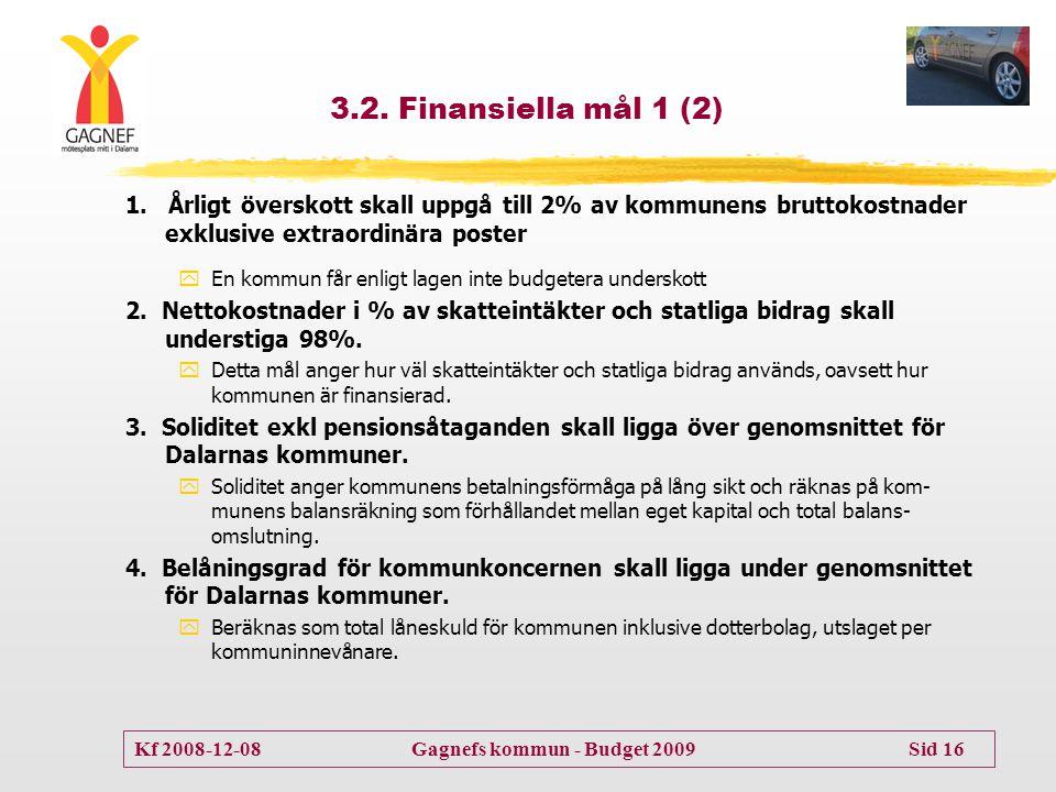 Kf 2008-12-08 Gagnefs kommun - Budget 2009 Sid 16 3.2. Finansiella mål 1 (2) 1. Årligt överskott skall uppgå till 2% av kommunens bruttokostnader exkl