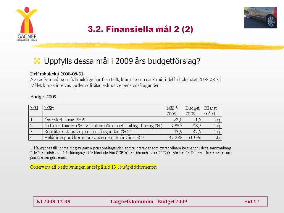 Kf 2008-12-08 Gagnefs kommun - Budget 2009 Sid 17 3.2. Finansiella mål 2 (2) zUppfylls dessa mål i 2009 års budgetförslag?