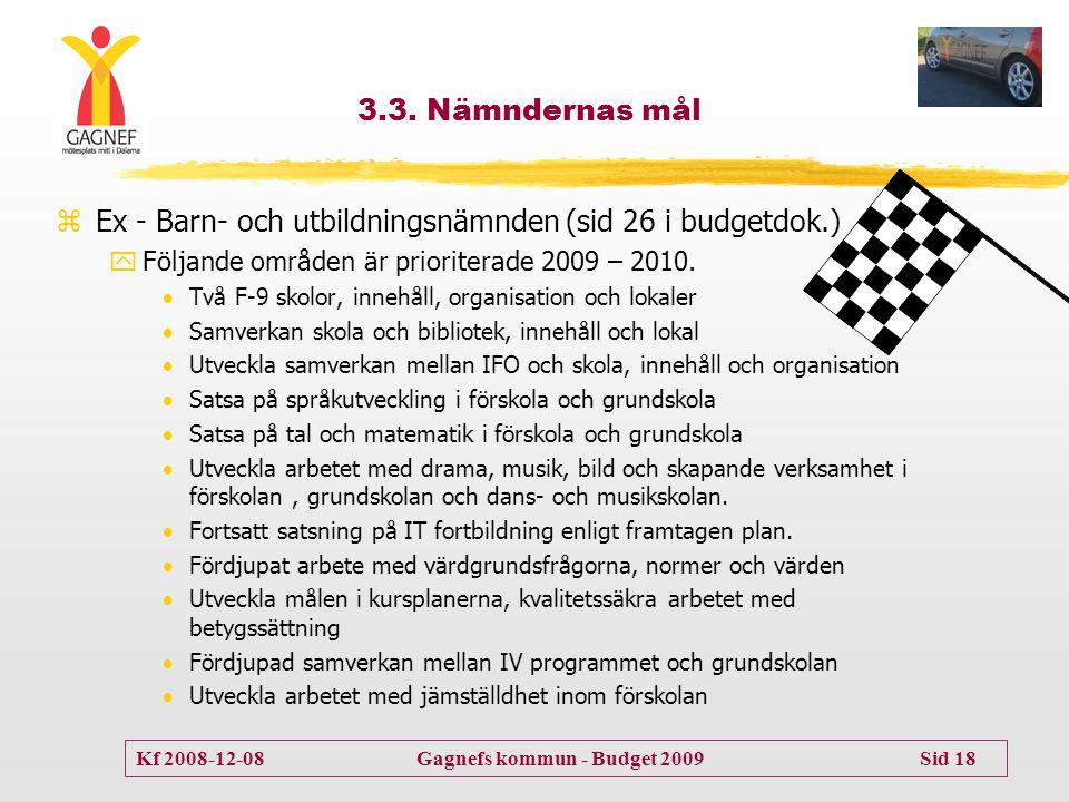 Kf 2008-12-08 Gagnefs kommun - Budget 2009 Sid 18 3.3. Nämndernas mål zEx - Barn- och utbildningsnämnden (sid 26 i budgetdok.) yFöljande områden är pr
