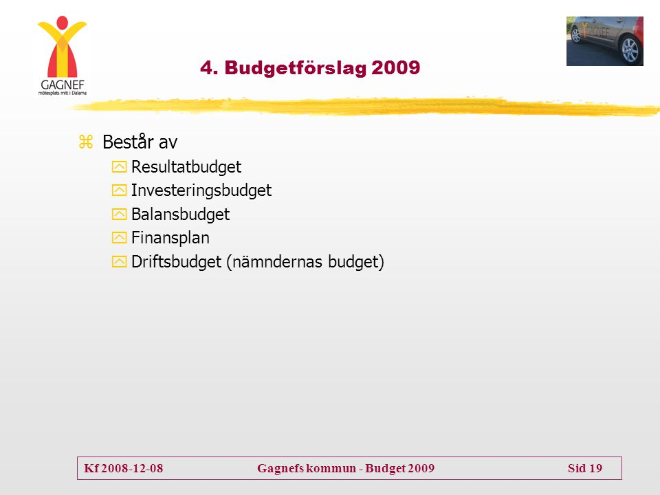Kf 2008-12-08 Gagnefs kommun - Budget 2009 Sid 19 4. Budgetförslag 2009 zBestår av yResultatbudget yInvesteringsbudget yBalansbudget yFinansplan yDrif