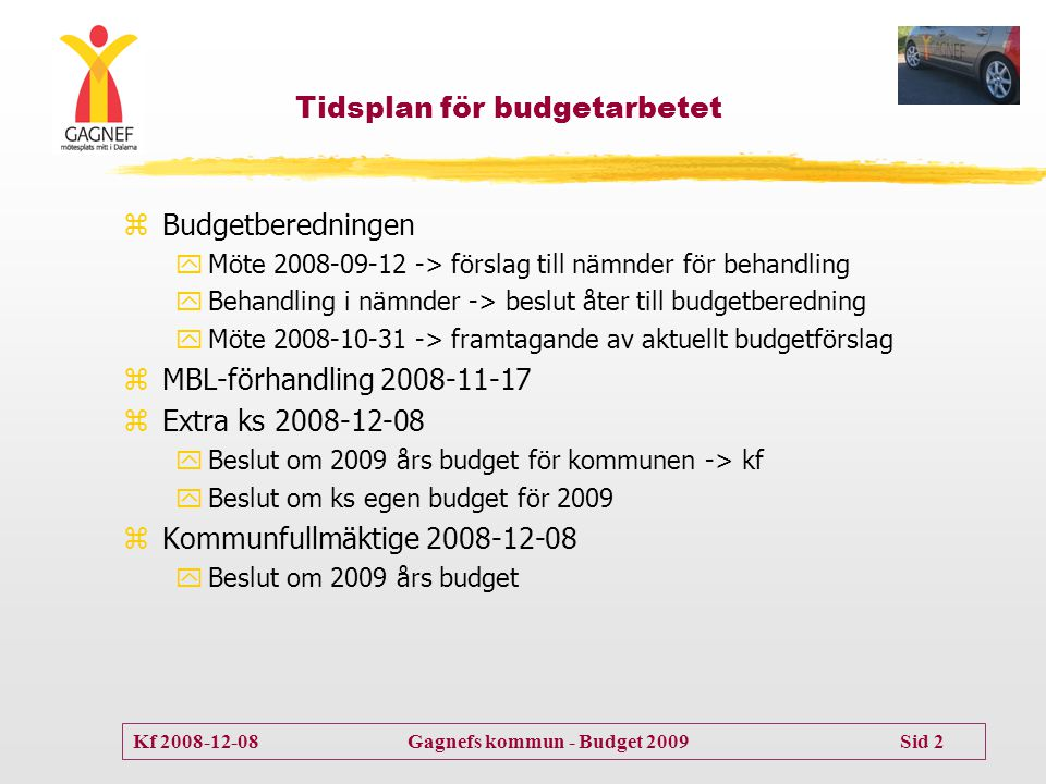 Kf 2008-12-08 Gagnefs kommun - Budget 2009 Sid 2 Tidsplan för budgetarbetet zBudgetberedningen yMöte 2008-09-12 -> förslag till nämnder för behandling