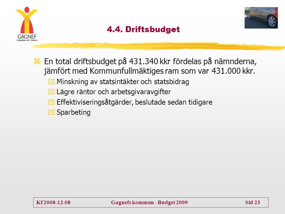 Kf 2008-12-08 Gagnefs kommun - Budget 2009 Sid 23 4.4. Driftsbudget zEn total driftsbudget på 431.340 kkr fördelas på nämnderna, jämfört med Kommunful