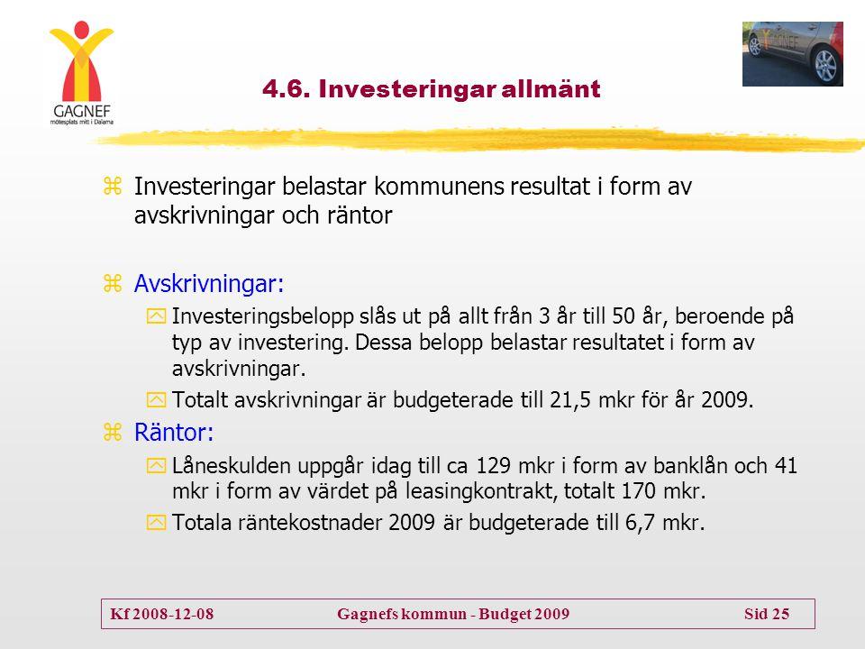 Kf 2008-12-08 Gagnefs kommun - Budget 2009 Sid 25 4.6. Investeringar allmänt zInvesteringar belastar kommunens resultat i form av avskrivningar och rä