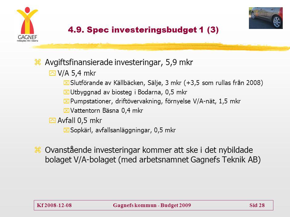 Kf 2008-12-08 Gagnefs kommun - Budget 2009 Sid 28 4.9. Spec investeringsbudget 1 (3) zAvgiftsfinansierade investeringar, 5,9 mkr yV/A 5,4 mkr xSlutför
