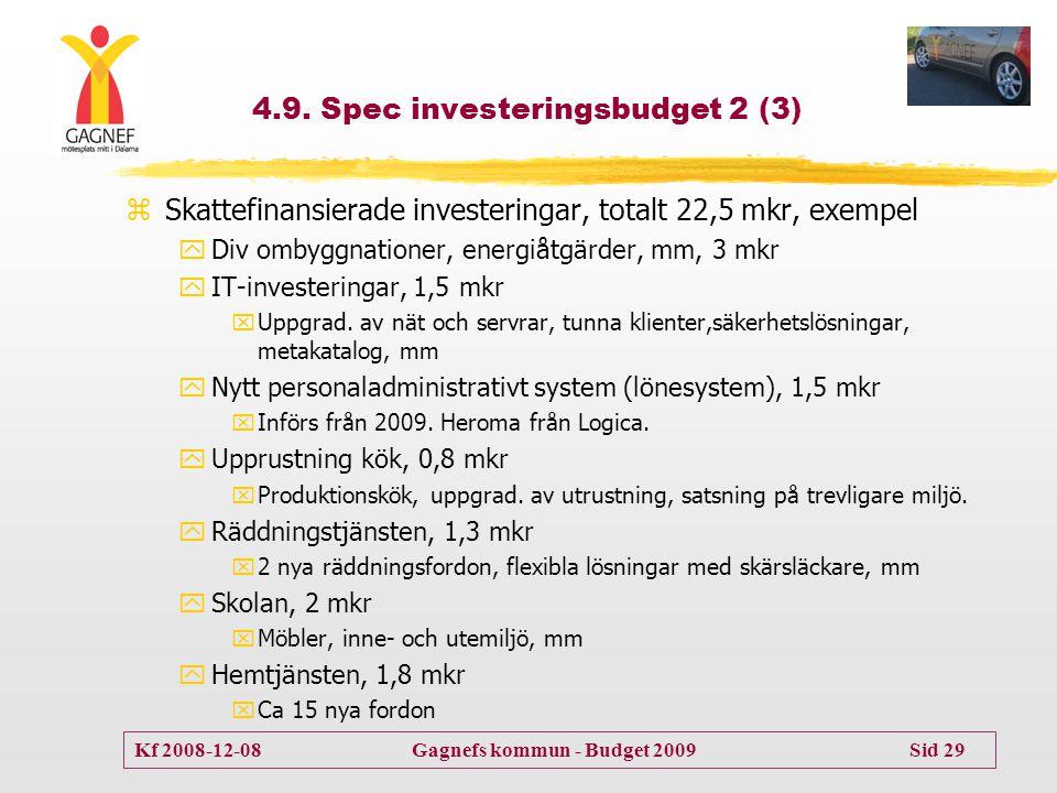 Kf 2008-12-08 Gagnefs kommun - Budget 2009 Sid 29 4.9. Spec investeringsbudget 2 (3) zSkattefinansierade investeringar, totalt 22,5 mkr, exempel yDiv