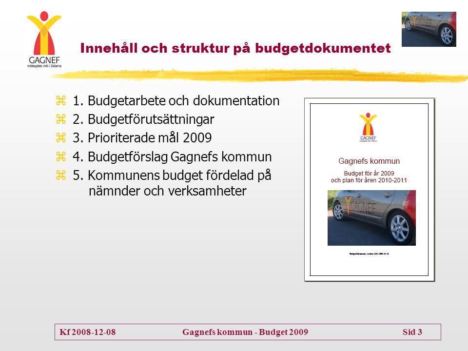 Kf 2008-12-08 Gagnefs kommun - Budget 2009 Sid 3 Innehåll och struktur på budgetdokumentet z1. Budgetarbete och dokumentation z2. Budgetförutsättninga
