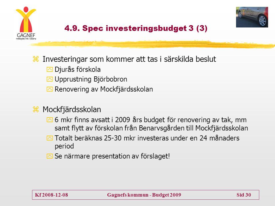 Kf 2008-12-08 Gagnefs kommun - Budget 2009 Sid 30 4.9. Spec investeringsbudget 3 (3) zInvesteringar som kommer att tas i särskilda beslut yDjurås förs