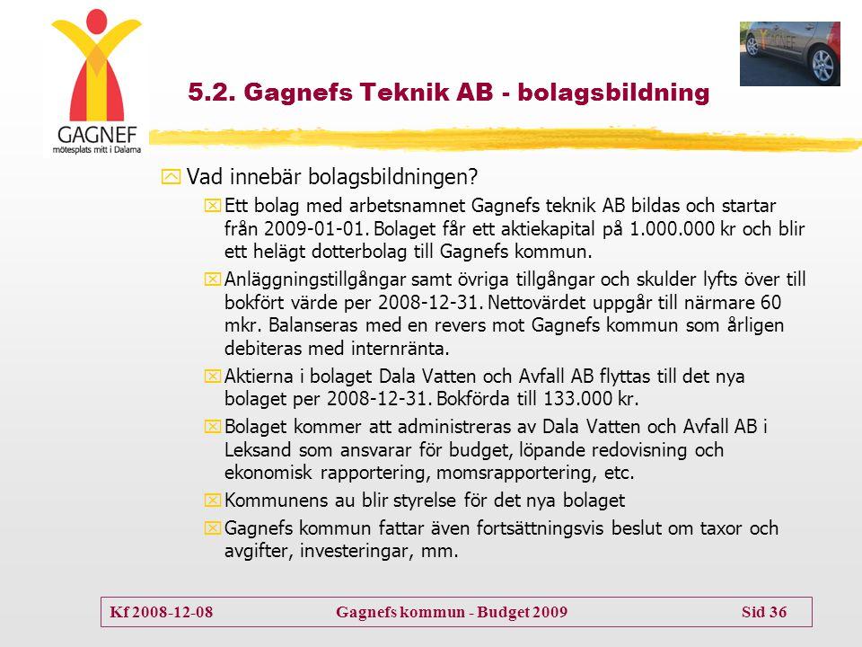Kf 2008-12-08 Gagnefs kommun - Budget 2009 Sid 36 5.2. Gagnefs Teknik AB - bolagsbildning yVad innebär bolagsbildningen? xEtt bolag med arbetsnamnet G