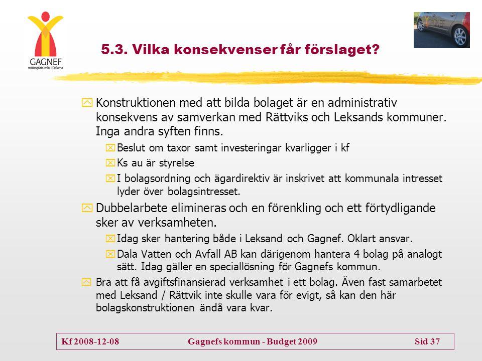 Kf 2008-12-08 Gagnefs kommun - Budget 2009 Sid 37 5.3. Vilka konsekvenser får förslaget? yKonstruktionen med att bilda bolaget är en administrativ kon