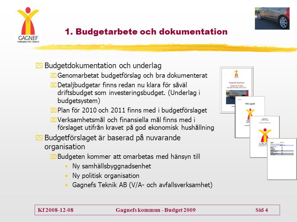 Kf 2008-12-08 Gagnefs kommun - Budget 2009 Sid 4 yBudgetdokumentation och underlag xGenomarbetat budgetförslag och bra dokumenterat xDetaljbudgetar fi