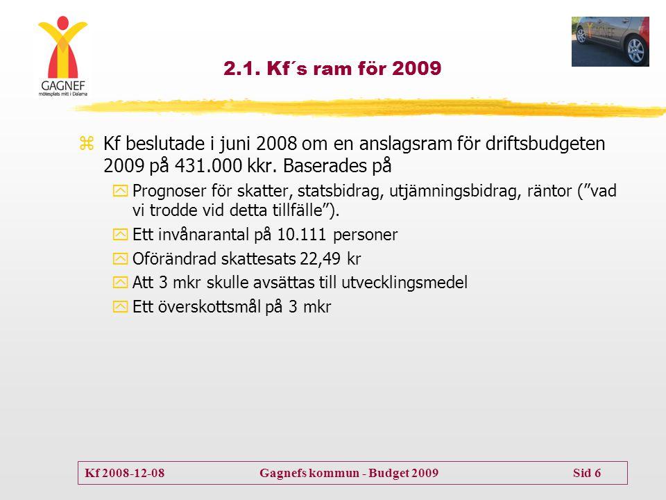 Kf 2008-12-08 Gagnefs kommun - Budget 2009 Sid 6 2.1. Kf´s ram för 2009 zKf beslutade i juni 2008 om en anslagsram för driftsbudgeten 2009 på 431.000
