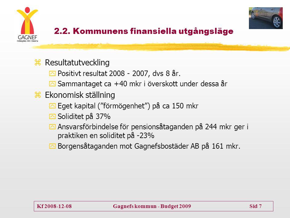 Kf 2008-12-08 Gagnefs kommun - Budget 2009 Sid 7 2.2. Kommunens finansiella utgångsläge zResultatutveckling yPositivt resultat 2008 - 2007, dvs 8 år.