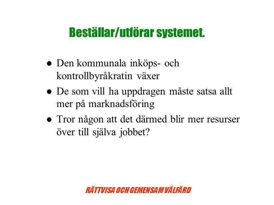 RÄTTVISA OCH GEMENSAM VÄLFÄRD Beställar/utförar systemet.