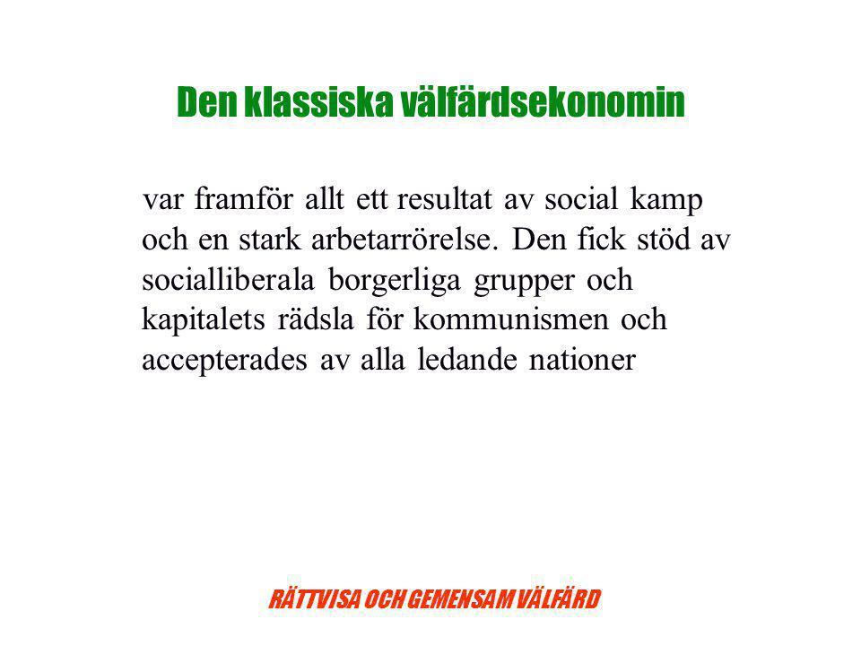 RÄTTVISA OCH GEMENSAM VÄLFÄRD Den klassiska välfärdsekonomin var framför allt ett resultat av social kamp och en stark arbetarrörelse.