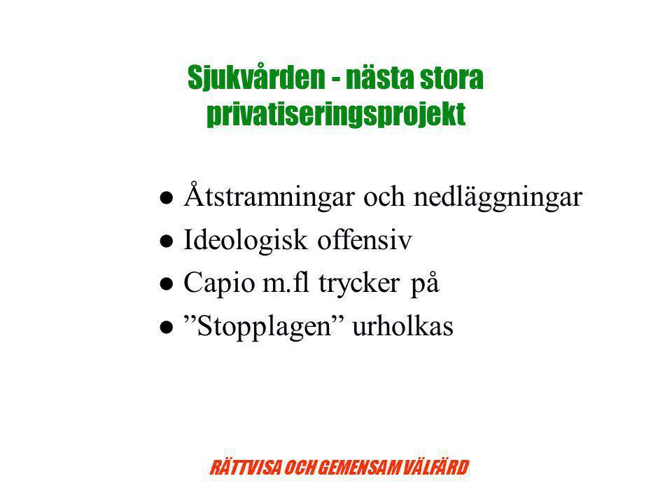 RÄTTVISA OCH GEMENSAM VÄLFÄRD Sjukvården - nästa stora privatiseringsprojekt Åtstramningar och nedläggningar Ideologisk offensiv Capio m.fl trycker på Stopplagen urholkas