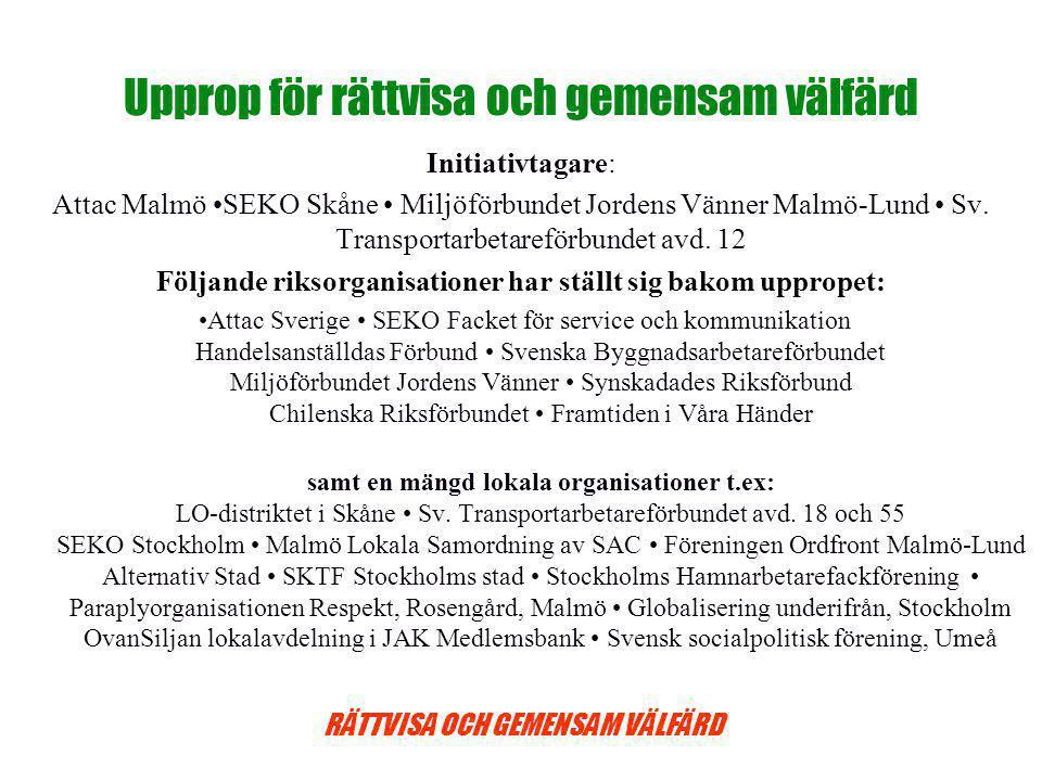 RÄTTVISA OCH GEMENSAM VÄLFÄRD Upprop för rättvisa och gemensam välfärd Initiativtagare: Attac Malmö SEKO Skåne Miljöförbundet Jordens Vänner Malmö-Lund Sv.