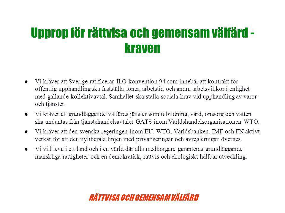RÄTTVISA OCH GEMENSAM VÄLFÄRD Upprop för rättvisa och gemensam välfärd - kraven Vi kräver att Sverige ratificerar ILO-konvention 94 som innebär att kontrakt för offentlig upphandling ska fastställa löner, arbetstid och andra arbetsvillkor i enlighet med gällande kollektivavtal.