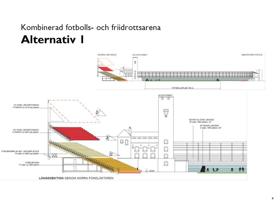 15 Renodlad fotbollsarena Alternativ 2A och 2B A B