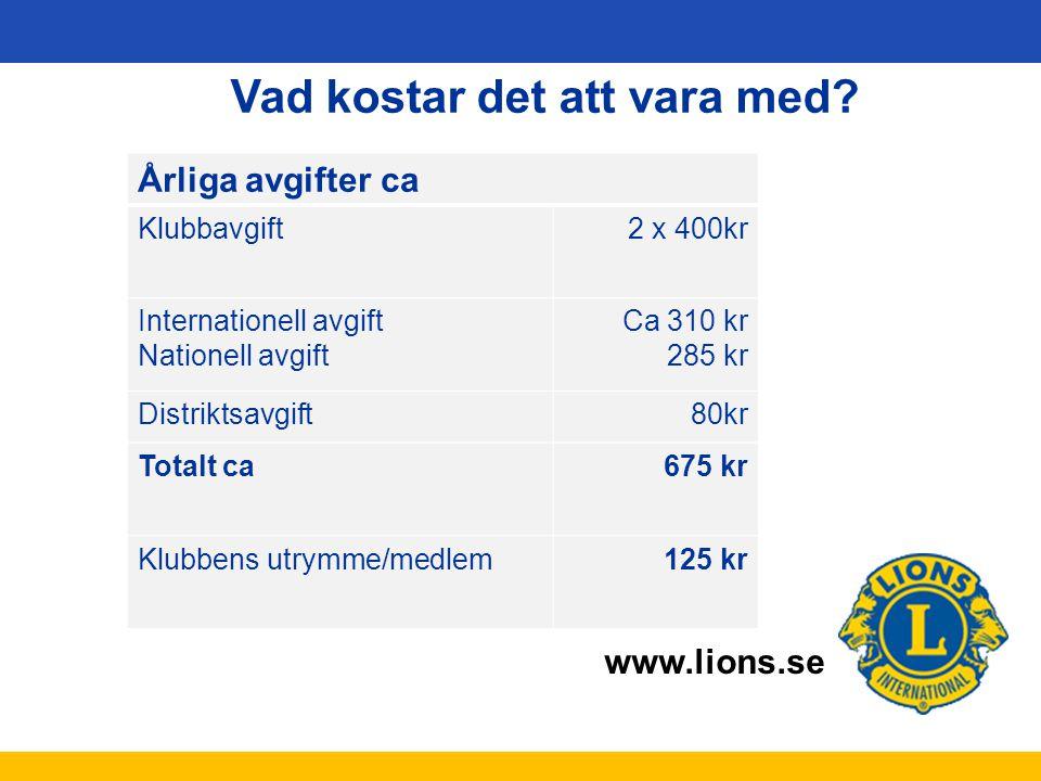 www.lions.se Vad kostar det att vara med? Årliga avgifter ca Klubbavgift2 x 400kr Internationell avgift Nationell avgift Ca 310 kr 285 kr Distriktsavg