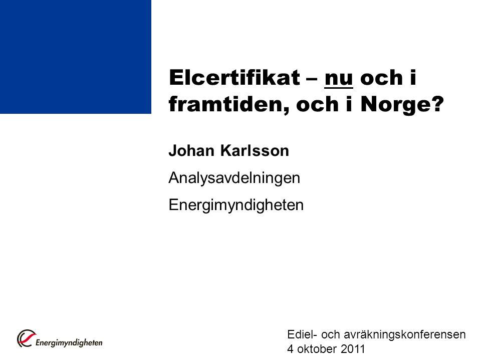 Elcertifikatsystemet Elcertifikat infördes den 1 maj 2003, marknadsbaserat styrmedel Syfte att stödja förnybar elproduktion.