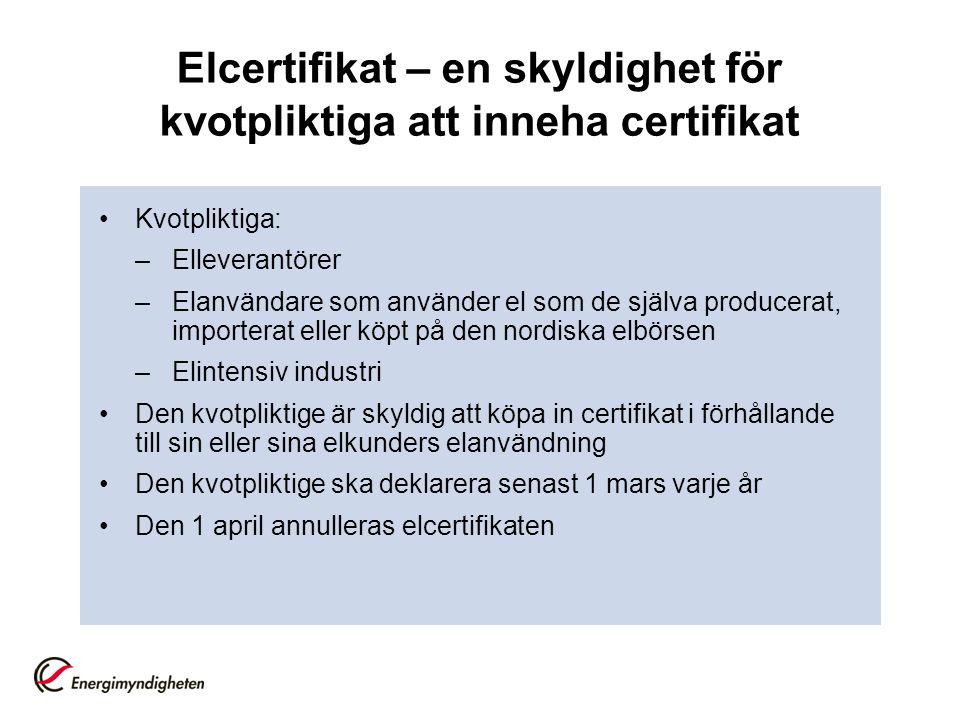 Elcertifikat – en skyldighet för kvotpliktiga att inneha certifikat Kvotpliktiga: –Elleverantörer –Elanvändare som använder el som de själva producerat, importerat eller köpt på den nordiska elbörsen –Elintensiv industri Den kvotpliktige är skyldig att köpa in certifikat i förhållande till sin eller sina elkunders elanvändning Den kvotpliktige ska deklarera senast 1 mars varje år Den 1 april annulleras elcertifikaten