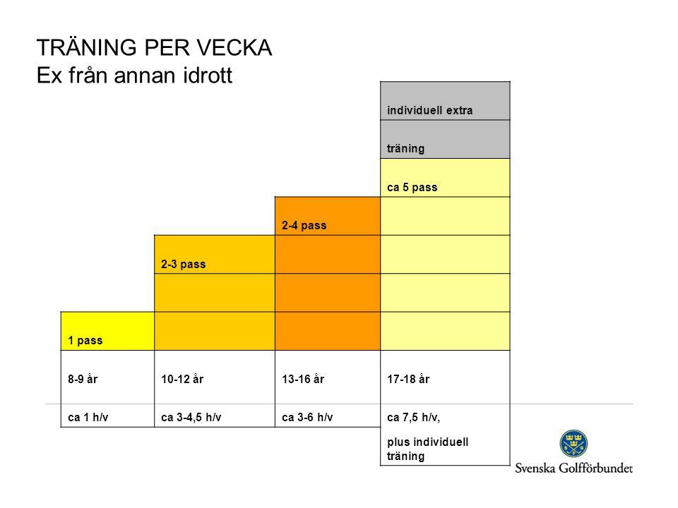 individuell extra träning ca 5 pass 2-4 pass 2-3 pass 1 pass 8-9 år10-12 år13-16 år17-18 år ca 1 h/vca 3-4,5 h/vca 3-6 h/vca 7,5 h/v, plus individuell träning TRÄNING PER VECKA Ex från annan idrott