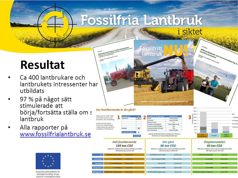 Resultat Ca 400 lantbrukare och lantbrukets intressenter har utbildats 97 % på något sätt stimulerade att börja/fortsätta ställa om sitt lantbruk Alla rapporter på www.fossilfrialantbruk.se www.fossilfrialantbruk.se