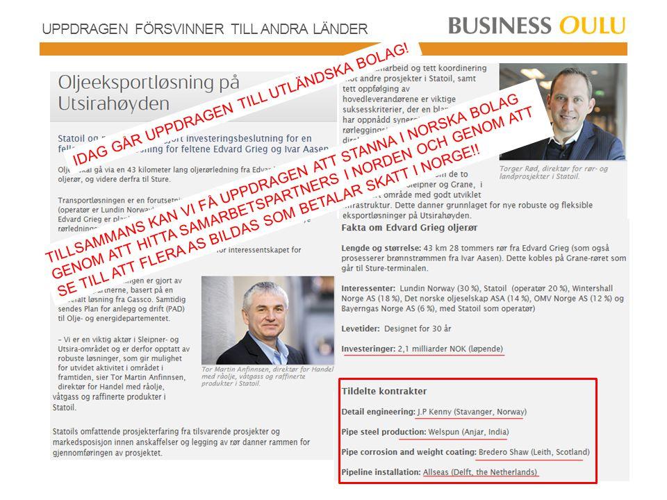 NORDISKA PROGRAMMET Annika Daisley, Gränskommittén: Gränshandel Norge – Sverige 2012 23 miljarder SEK varav dagligvaror 15 miljarder SEK och sällanköpsvaror 8 miljarder SEK Målet 500 miljoner € ökad försäljning till varanda per land på 3 år Affärsidén Pohjoinen Ohjelma Kompetenta företag från Norge, Sverige och Finland säljer mer på sin utökad hemmamarknad som innefattar Norge, Sverige och Finland.