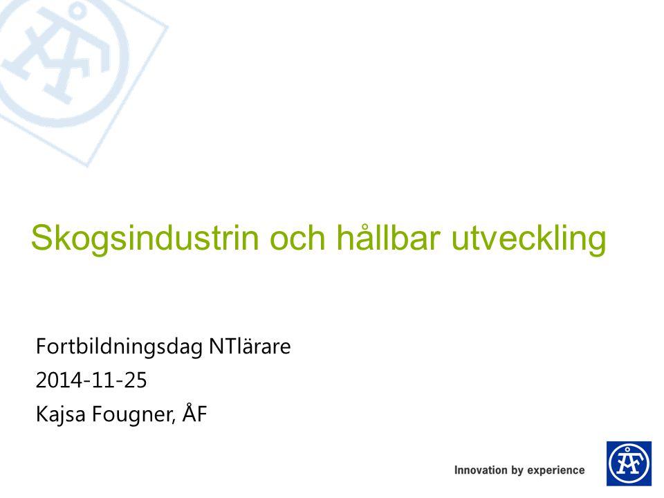 Exempel: Minska elförbrukning vid raffinering Skogsindustrin och hållbar utveckling Kajsa Fougner Utveckling av segment till raffinörer/ kvarnar Lägre elförbrukning