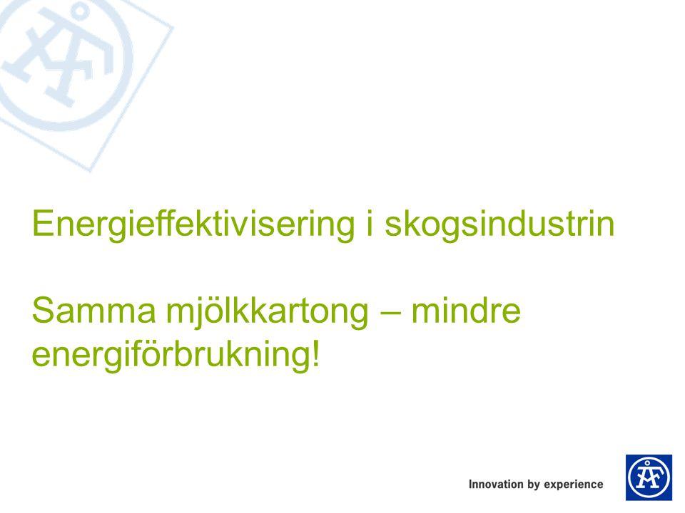 Energieffektivisering i skogsindustrin Samma mjölkkartong – mindre energiförbrukning!