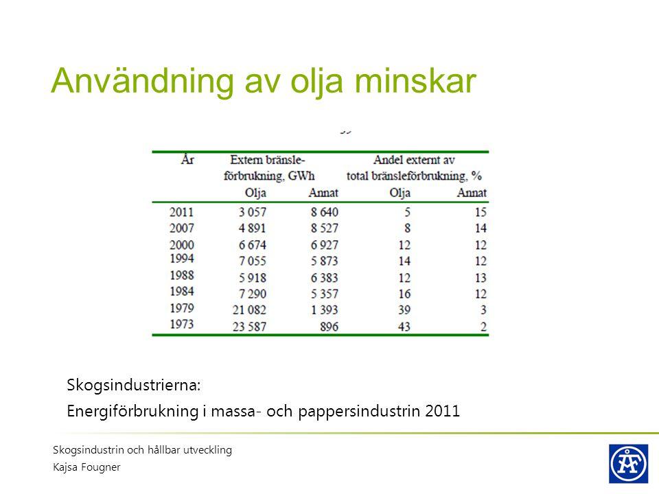 Användning av olja minskar Skogsindustrierna: Energiförbrukning i massa- och pappersindustrin 2011 Skogsindustrin och hållbar utveckling Kajsa Fougner