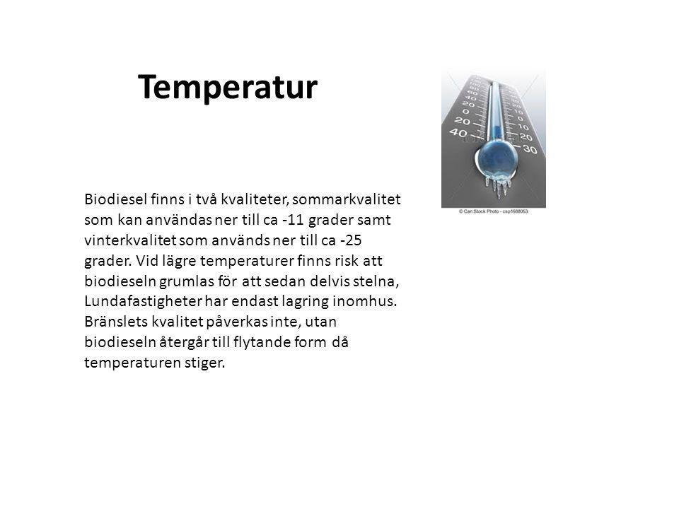 Temperatur Biodiesel finns i två kvaliteter, sommarkvalitet som kan användas ner till ca -11 grader samt vinterkvalitet som används ner till ca -25 gr