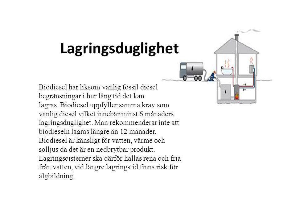 Lagringsduglighet Biodiesel har liksom vanlig fossil diesel begränsningar i hur lång tid det kan lagras. Biodiesel uppfyller samma krav som vanlig die