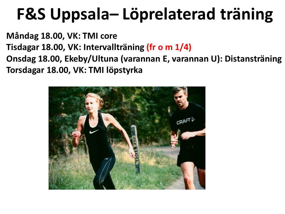 F&S Uppsala– Löprelaterad träning Kom uppvärmda! Måndag 18.00, VK: TMI core Tisdagar 18.00, VK: Intervallträning (fr o m 1/4) Onsdag 18.00, Ekeby/Ultu