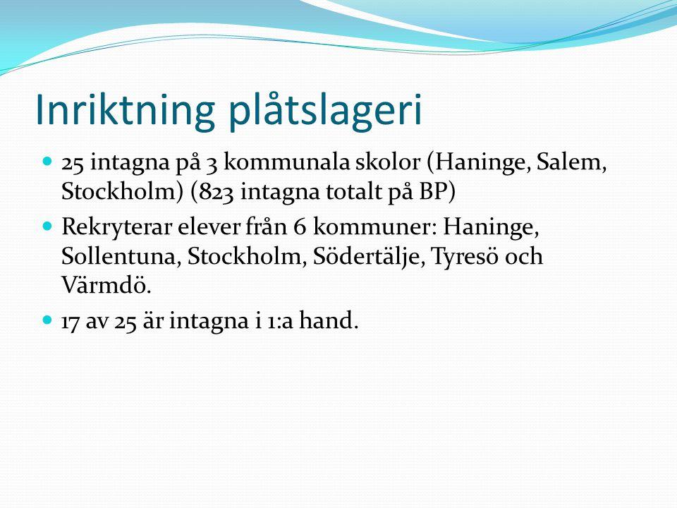 Inriktning plåtslageri 25 intagna på 3 kommunala skolor (Haninge, Salem, Stockholm) (823 intagna totalt på BP) Rekryterar elever från 6 kommuner: Haninge, Sollentuna, Stockholm, Södertälje, Tyresö och Värmdö.