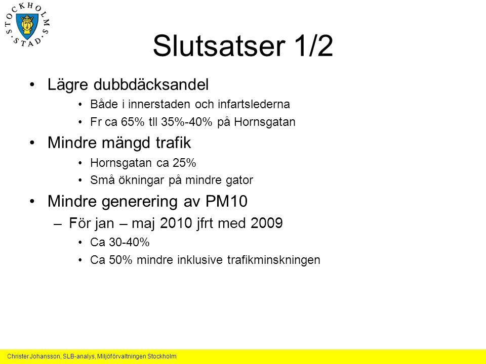 Christer Johansson, SLB-analys, Miljöförvaltningen Stockholm Slutsatser 1/2 Lägre dubbdäcksandel Både i innerstaden och infartslederna Fr ca 65% tll 3
