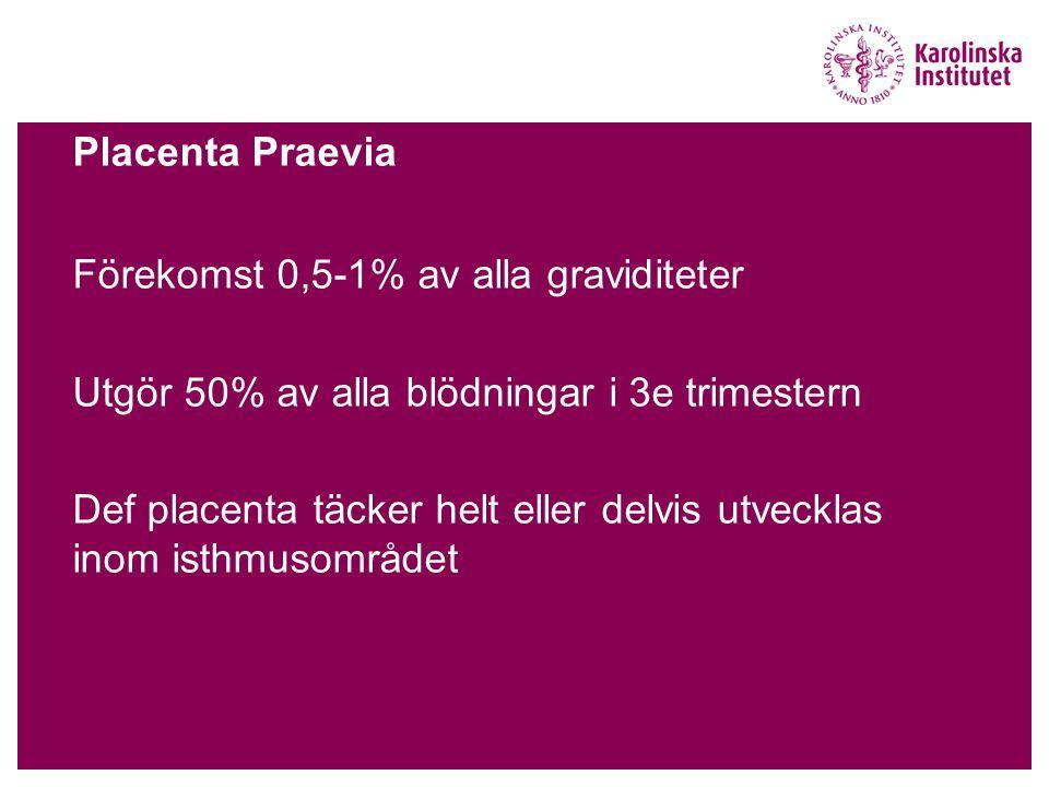 Placenta Praevia Förekomst 0,5-1% av alla graviditeter Utgör 50% av alla blödningar i 3e trimestern Def placenta täcker helt eller delvis utvecklas inom isthmusområdet