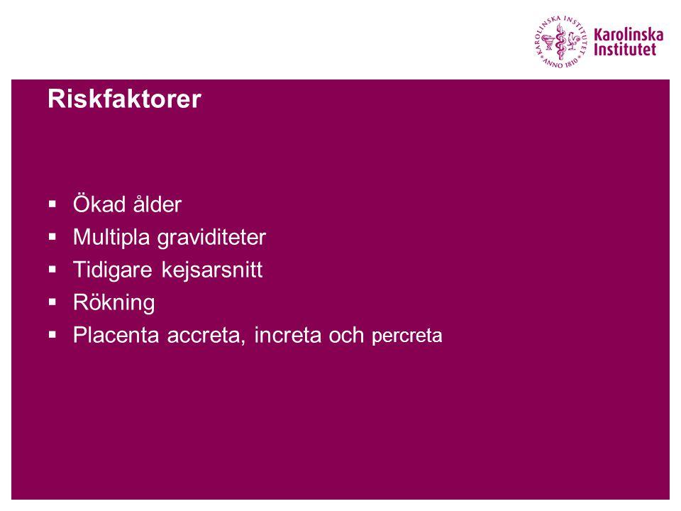 Riskfaktorer  Ökad ålder  Multipla graviditeter  Tidigare kejsarsnitt  Rökning  Placenta accreta, increta och percreta