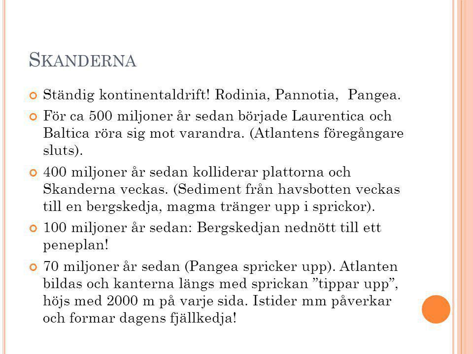 S KANDERNA Ständig kontinentaldrift! Rodinia, Pannotia, Pangea. För ca 500 miljoner år sedan började Laurentica och Baltica röra sig mot varandra. (At