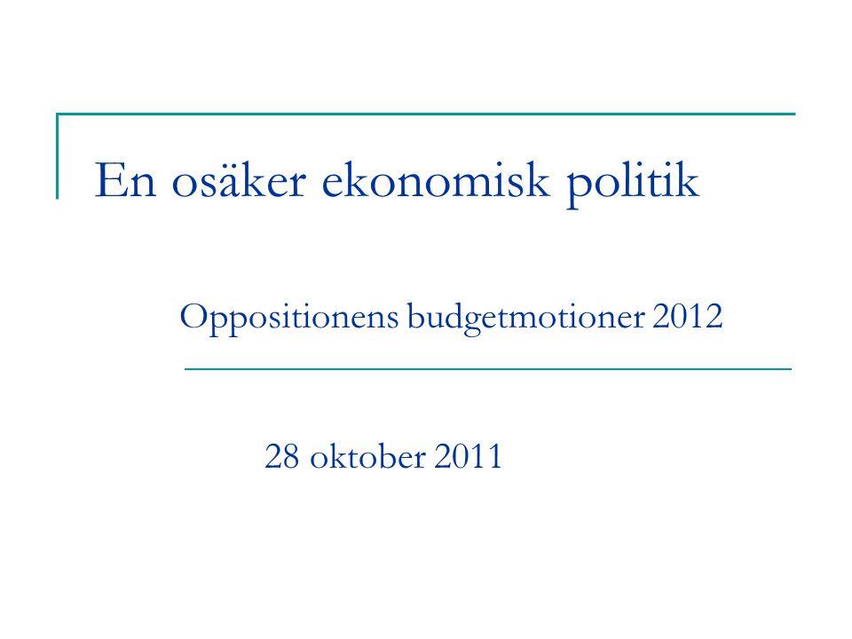 En osäker ekonomisk politik Oppositionens budgetmotioner 2012 28 oktober 2011