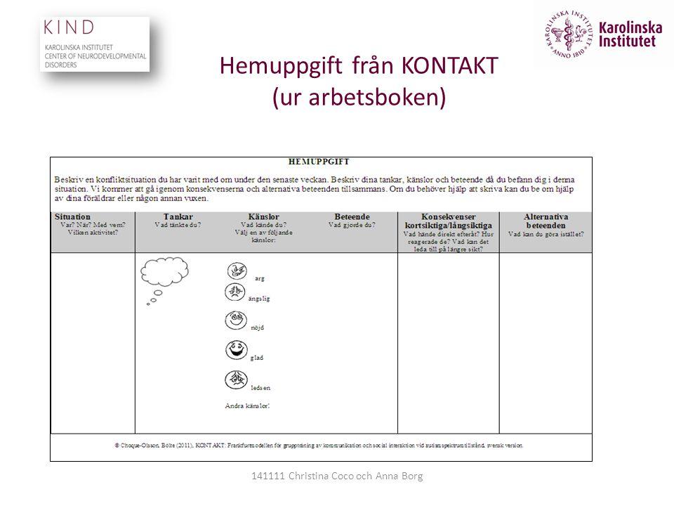 Hemuppgift från KONTAKT (ur arbetsboken) 141111 Christina Coco och Anna Borg