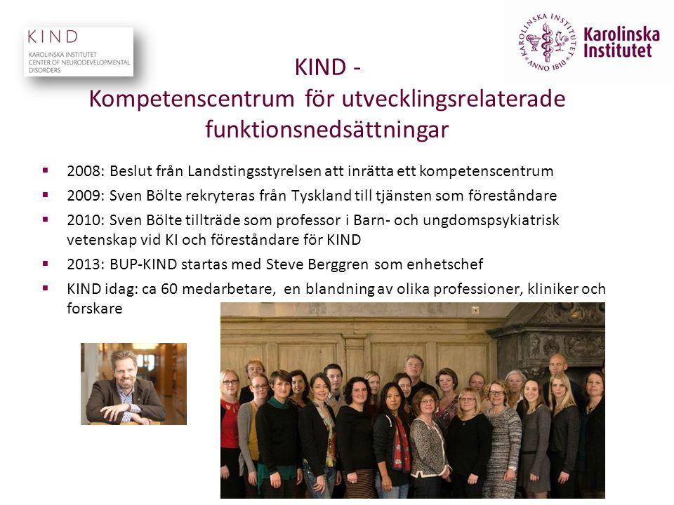 KIND - Kompetenscentrum för utvecklingsrelaterade funktionsnedsättningar  2008: Beslut från Landstingsstyrelsen att inrätta ett kompetenscentrum  20